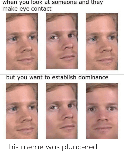 Establish: when you look at someone and they  make eye contact  but you want to establish dominance This meme was plundered
