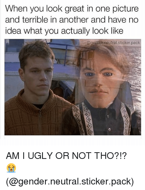 Ugly, Girl Memes, and Am I Ugly: When you look great in one picture  and terrible in another and have no  idea what you actually look like  @gender.neutral.sticker.pack AM I UGLY OR NOT THO?!? 😭 (@gender.neutral.sticker.pack)