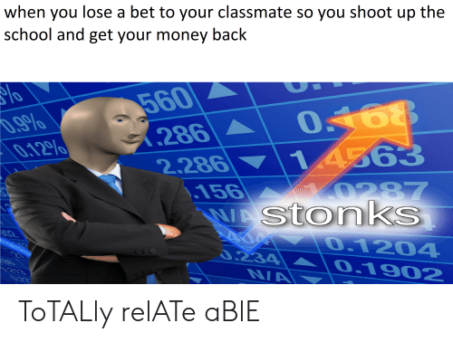 Funny, Money, and School: when you lose a bet to your classmate so you shoot up the  school and get your money back  560  .9%  0.129%%  286  1  4363  2.286  .156  0287  VAStonks  O.1204  0.234  0.1902  NA ToTALly relATe aBlE