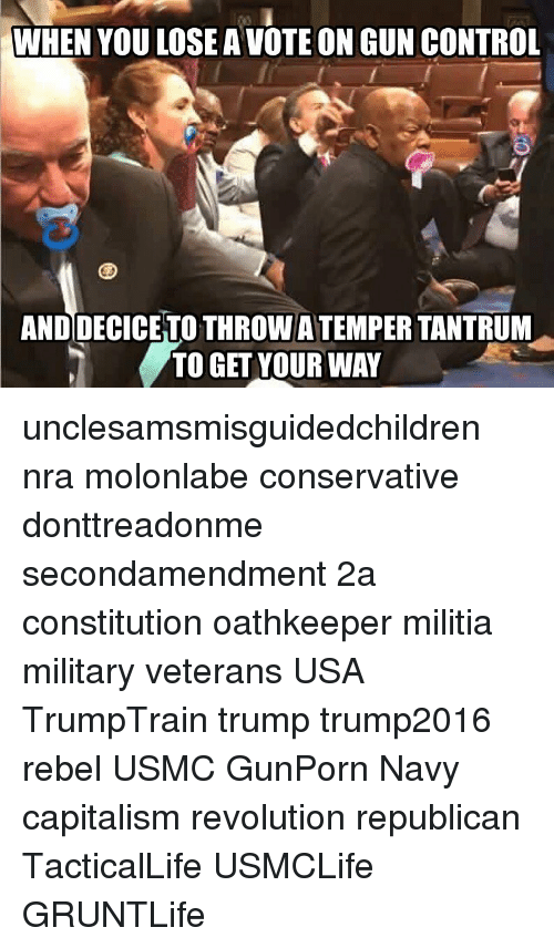 Memes, Militia, and Control: WHEN YOU LOSE A VOTE ON GUN CONTROL  AND DECICETO THROW ATEMPER TANTRUM  TO GET YOUR WAY unclesamsmisguidedchildren nra molonlabe conservative donttreadonme secondamendment 2a constitution oathkeeper militia military veterans USA TrumpTrain trump trump2016 rebel USMC GunPorn Navy capitalism revolution republican TacticalLife USMCLife GRUNTLife