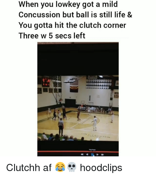 Concussion: When you lowkey got a mild  Concussion but ball is still life &  You gotta hit the clutch corner  Three w 5 secs left Clutchh af 😂💀 hoodclips
