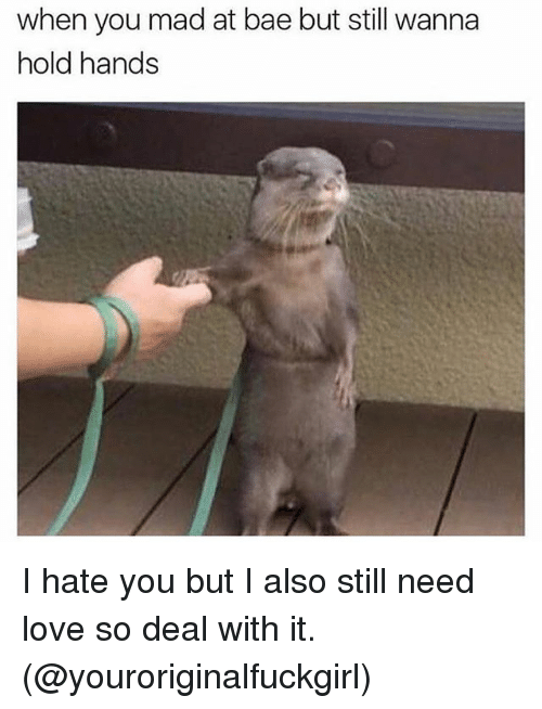 Bae, Love, and Girl Memes: when you mad at bae but still wanna  hold hands I hate you but I also still need love so deal with it. (@youroriginalfuckgirl)