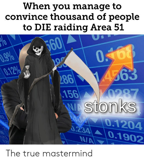 Reddit, True, and Area 51: When you manage to  convince thousand of people  to DIE raiding Area 51  560  O168  .9%  0.12%/  286 14563  0287  156  WAStonks  02  0.1204  0.234 0.1902  213  0.2T  NA The true mastermind