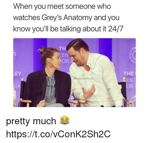 Memes, Grey's Anatomy, and Watches: When you meet someone who  watches Grey's Anatomy and you  know you'll be talking about it 24/7  TH  EN  OR  THE  EN  OR  EY  IG  Okepnershunt pretty much 😂 https://t.co/vConK2Sh2C