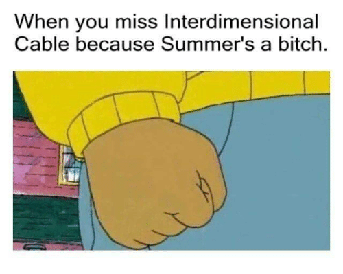 Bitch, Cable, and You: When you miss Interdimensional  Cable because Summer's a bitch.