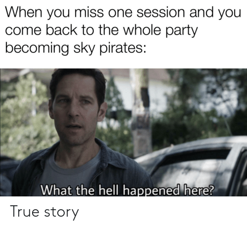 Party, True, and Pirates: When you miss one session and you  come back to the whole party  becoming sky pirates:  What the hell happened here? True story