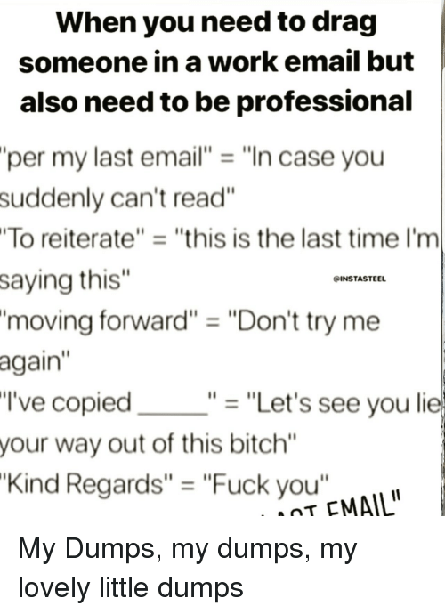 """Dumps: When you need to drag  someone in a work email but  also need to be professional  per my last email""""""""In case you  suddenly can't read""""  To reiterate""""""""this is the last time I'm  saying this""""  'moving forward"""" """"Don't try me  again  I've copied  your way out of this bitch""""  Kind Regards"""" = """"Fuck you""""  INSTASTEEL  """"-""""Let's see you lie  T EMAIL My Dumps, my dumps, my lovely little dumps"""