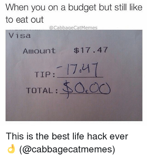 Life, Memes, and Life Hack: When you on a budget but still like  to eat out  @Cabbage Cat Memes  Visa  Amount $17.47  TIP  TOTAL This is the best life hack ever 👌 (@cabbagecatmemes)