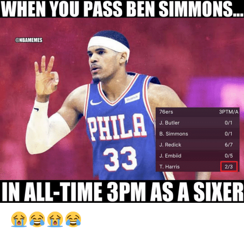 Philadelphia 76ers, Nba, and Time: WHEN YOU PASS BEN SIMMONS  ONBAMEMES  76ers  J. Butler  B. Simmons  J. Redick  J. Embiid  T. Harris  3PTM/A  PHILA  0/5  2/3  IN ALL-TIME 3PM AS A SIKER 😭😂😭😂