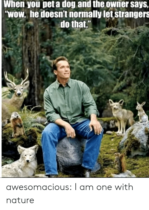 """Tumblr, Wow, and Blog: When you pet a dog and the owner says,  """"WOW. he doesn't normally let strangers  do that, awesomacious:  I am one with nature"""