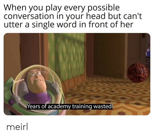 Academy: When you play every possible  conversation in your head but can't  utter a single word in front of her  Years of academy training wasted! meirl