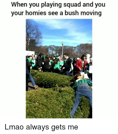 Funny, Lmao, and Squad: When you playing squad and you  your homies see a bush moving  彻! Lmao always gets me