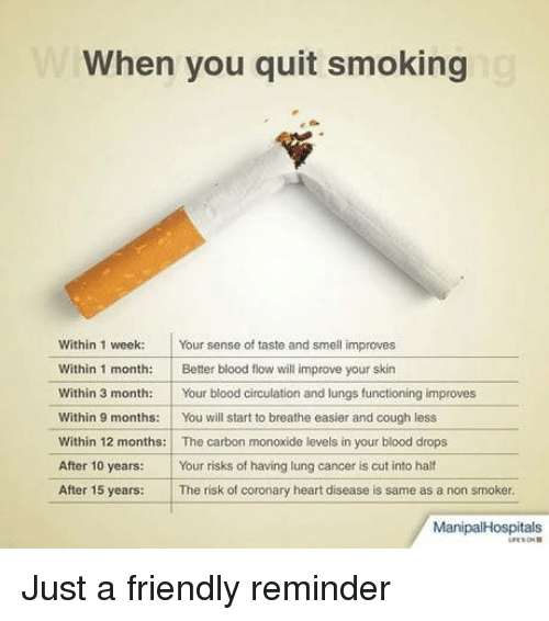quit smoking: When you quit smoking  Within 1 week Your sense of taste and smell improves  Within 1 month: Better blood flow will improve your skin  Within 3 month:Your blood circulation and lungs functioning improves  Within 9 months:You will start to breathe easier and cough less  Within 12 months: The carbon monoxide levels in your blood drops  After 10 years: Your risks of having lung cancer is cut into half  After 15 years: The risk of coronary heart disease is same as a non smoker.  ManipalHospitals Just a friendly reminder