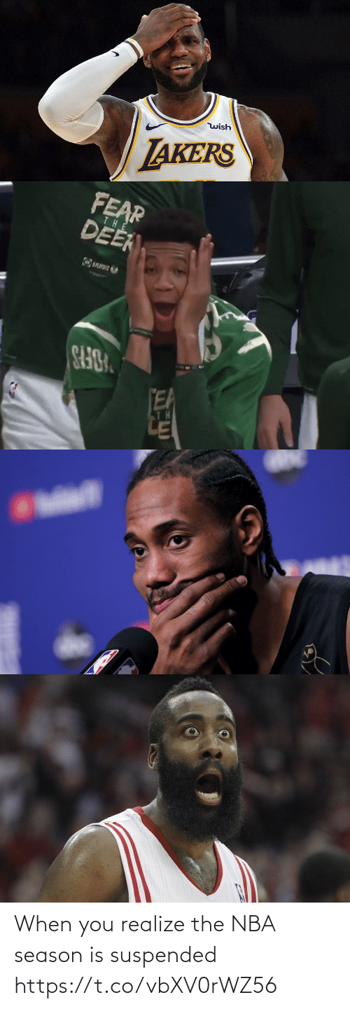 realize: When you realize the NBA season is suspended https://t.co/vbXV0rWZ56