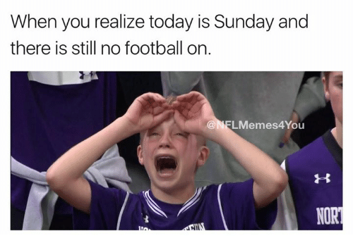 Football, Nfl, and Today: When you realize today is Sunday and  there is still no football on.  LMemes4You  NORT  HII