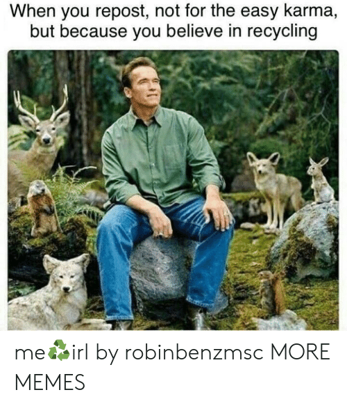Dank, Memes, and Target: When you repost, not for the easy karma,  but because you believe in recycling me♻️irl by robinbenzmsc MORE MEMES