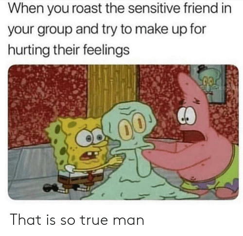 Roast, True, and Friend: When you roast the sensitive friend in  your group and try to make up for  hurting their feelings That is so true man