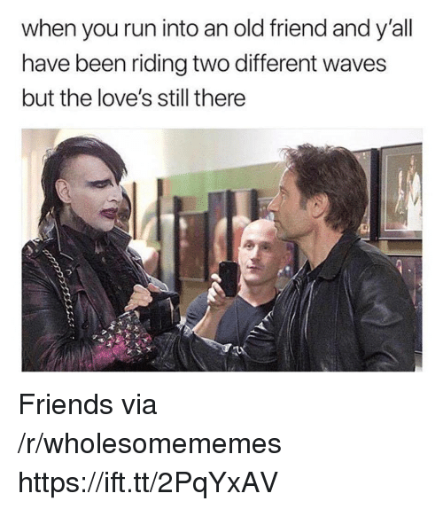 Friends, Run, and Waves: when you run into an old friend and y'all  have been riding two different waves  but the love's still there Friends via /r/wholesomememes https://ift.tt/2PqYxAV