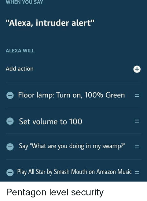 """pentagon: WHEN YOU SAY  """"Alexa, intruder alert""""  ALEXA WILL  Add action  1  e Floor lamp: Turn on, 100% Green  Set volume to 100  Say """"What are you doing in my swamp?"""" -  l Star by Smash Mouth on Amazon Music- Pentagon level security"""