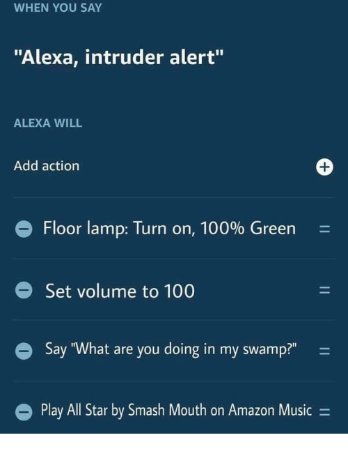 """All Star, Amazon, and Anaconda: WHEN YOU SAY  """"Alexa, intruder alert""""  ALEXA WILL  Add actiorn  Floor lamp: Turn on, 100% Green-  Set volume to 100  Say """"What are you doing in my swamp?""""  Play All Star by Smash Mouth on Amazon Music -"""