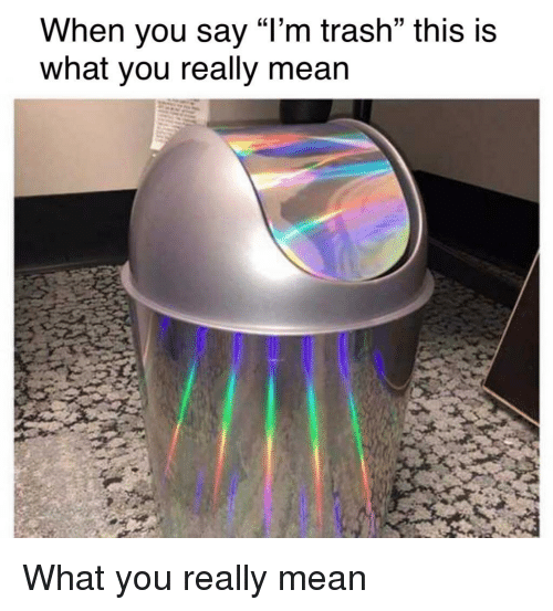 """Trash, Mean, and You: When you say """"l'm trash"""" this is  what you really mean What you really mean"""
