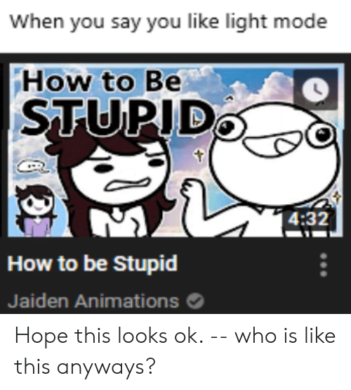 Reddit, How To, and Hope: When you say you like light mode  How to Be  STUPID  4:32  How to be Stupid  Jaiden Animations Hope this looks ok. -- who is like this anyways?