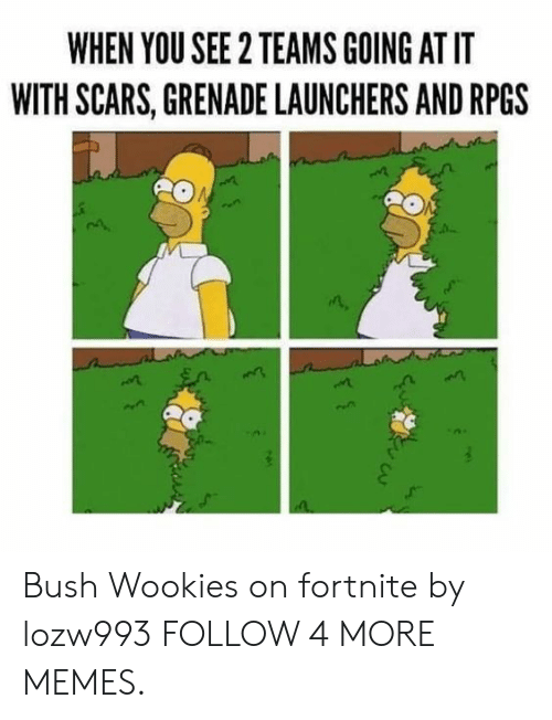 wookies: WHEN YOU SEE 2 TEAMS GOING AT IT  WITH SCARS, GRENADE LAUNCHERS AND RPGS Bush Wookies on fortnite by lozw993 FOLLOW 4 MORE MEMES.