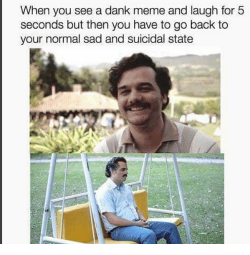 Dank Memees: When you see a dank meme and laugh for 5  seconds but then you have to go back to  your normal sad and suicidal state