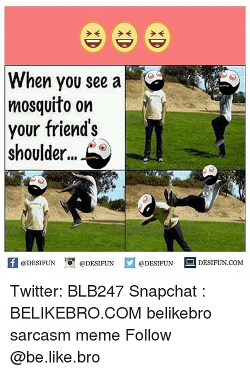 Be Like, Friends, and Meme: When you see a  mosquito on  your friend's  shoulder...  K @DESIFUN 증@DESIFUN  @DESIFUN DESIFUN.COM Twitter: BLB247 Snapchat : BELIKEBRO.COM belikebro sarcasm meme Follow @be.like.bro