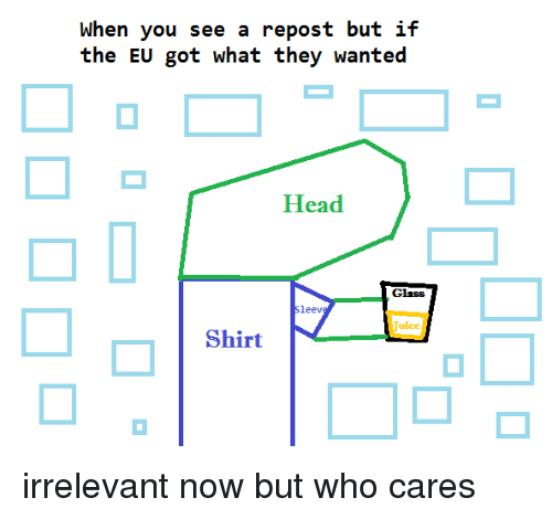 Head, Dank Memes, and Got: When you see a repost but if  the EU got what they wanted  Head  Glass  Sleev  ulcc  Shirt