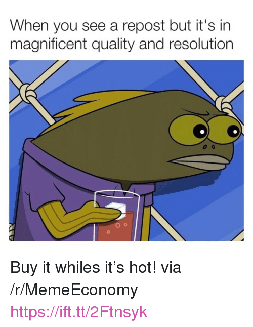 "Magnificent, Resolution, and Via: When you see a repost but it's in  magnificent quality and resolution <p>Buy it whiles it's hot! via /r/MemeEconomy <a href=""https://ift.tt/2Ftnsyk"">https://ift.tt/2Ftnsyk</a></p>"