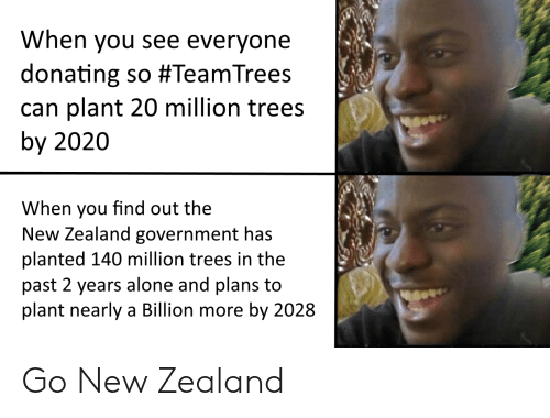 When You Find Out: When you see everyone  donating so #TeamTrees  can plant 20 million trees  by 2020  When you find out the  New Zealand government has  planted 140 million trees in the  past 2 years alone and plans to  plant nearly a Billion more by 2028 Go New Zealand
