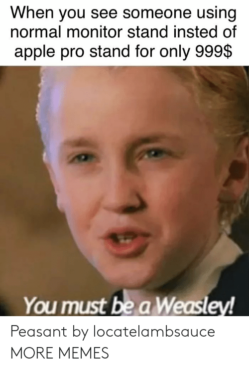 Apple, Dank, and Memes: When you see someone using  normal monitor stand insted of  apple pro stand for only 999$  You must be a Weasley! Peasant by locatelambsauce MORE MEMES