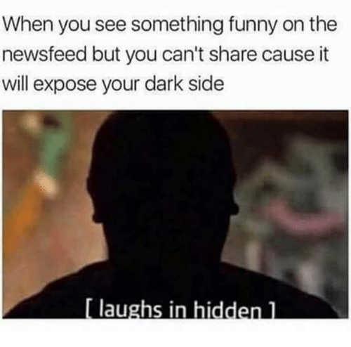 Dark Sided: When you see something funny on the  newsfeed but you can't share cause it  will expose your dark side  [ laughs in hiddenl