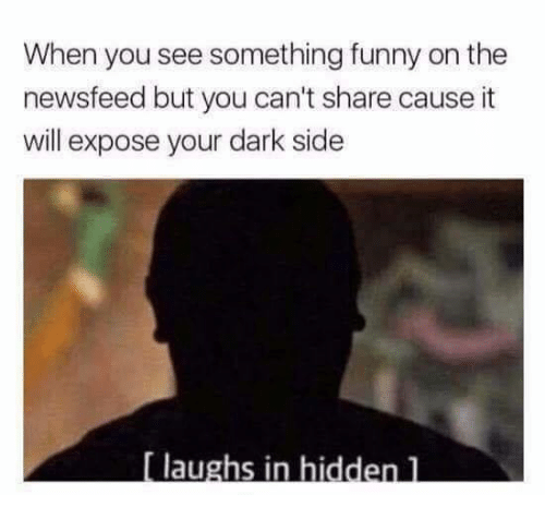 Funny, Hidden, and Dark: When you see something funny on the  newsfeed but you can't share cause it  will expose your dark side  laughs in hidden l