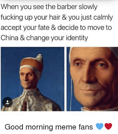 Barber, Fucking, and Meme: When you see the barber slowly  fucking up your hair & you just calmly  accept your fate & decide to move to  China & change your identity Good morning meme fans 💙❤️