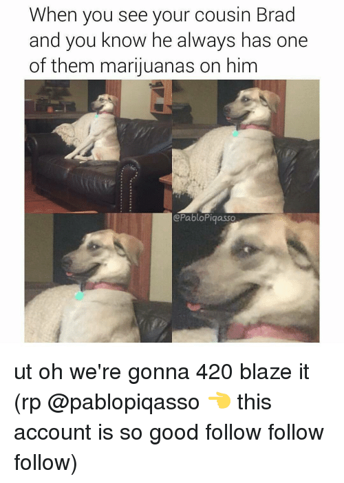 420 Blaze It: When you see your cousin Brad  and you know he always has one  of them marijuanas on him  @Pablo Pigasso ut oh we're gonna 420 blaze it (rp @pablopiqasso 👈 this account is so good follow follow follow)