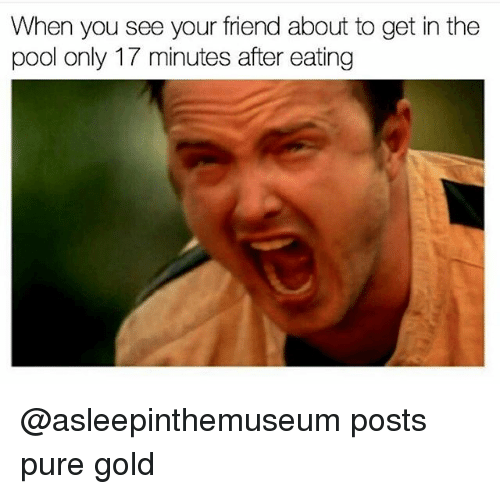 Pool, Dank Memes, and Gold: When you see your friend about to get in the  pool only 17 minutes after eating @asleepinthemuseum posts pure gold