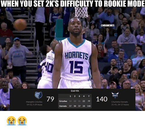 Memphis Grizzlies: WHEN YOU SET 2K'S DIFFICULTY TO ROOKIE MODE  ONBAMEMES  HORNETS  015  End 4th  1 2 3 4 T  1 140  Grizzlies 14 28 15 22 79  Memphis Grizzlles  19-52,5-29 Away  Charlotte Hornets  31 41, 19-17 Home  Hornets 37 38 37 28 140 😭😭