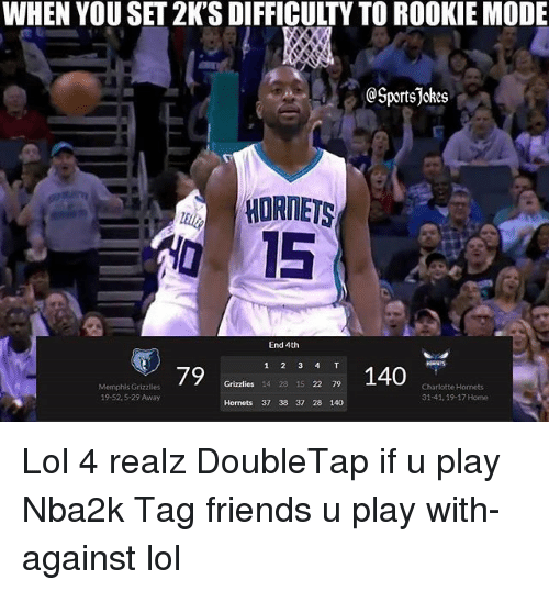 Memphis Grizzlies: WHEN YOU SET 2K'S DIFFICULTY TO ROOKIE MODE  TI  SportsJokes  HORNETS  0 15  End 4th  79  2140  Grizzlies 14 28 15 22 79  Memphis Grizzlies  19-52.5-29 Away  Charlotte Hornets  31-41, 19-17 Home  Hornets 37 38 37 28 140 Lol 4 realz DoubleTap if u play Nba2k Tag friends u play with-against lol