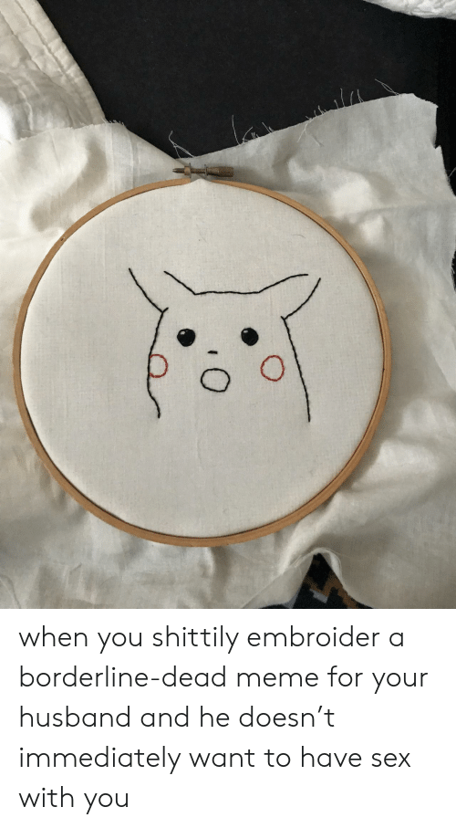 Meme, Sex, and Husband: when you shittily embroider a borderline-dead meme for your husband and he doesn't immediately want to have sex with you