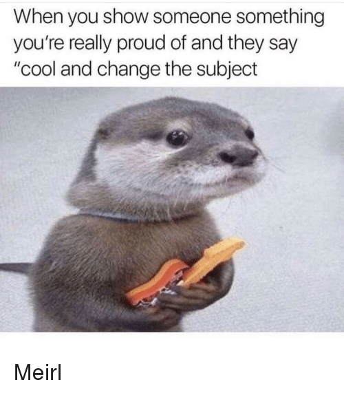 """Cool, Proud, and Change: When you show someone something  you're really proud of and they say  """"cool and change the subject Meirl"""
