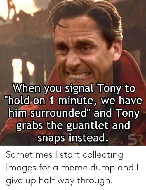 "i give up: When you signal Tony to  ""hold on 1 minute, we have  him surrounded"" and Tony  grabs the guantlet and  snaps instead.  SR Sometimes I start collecting images for a meme dump and I give up half way through."
