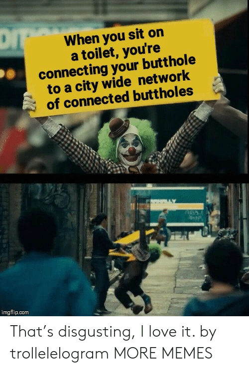 Butthole: When you sit on  a toilet, you're  connecting your butthole  to a city wide network  of connected buttholes  imgflip.com That's disgusting, I love it. by trollelelogram MORE MEMES