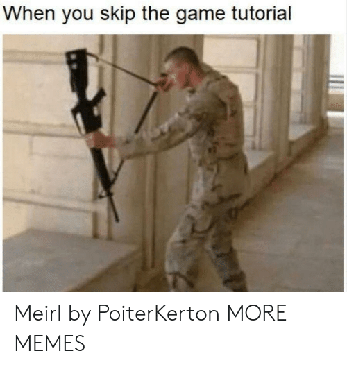 Dank, Memes, and Target: When you skip the game tutorial Meirl by PoiterKerton MORE MEMES
