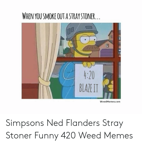 Ned Flanders Meme: WHEN YOU SMOKE OUT A STRAY STONER,  1:20  BLALITI  WeedMemes.com Simpsons Ned Flanders Stray Stoner Funny 420 Weed Memes