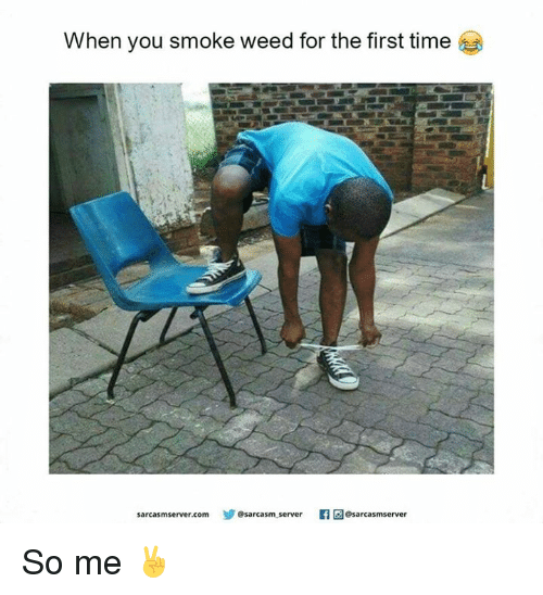 When You Smoke Weed For The First Time: When you smoke weed for the first time  sarcasm server.com  @sarcasm server  Caesarcasmserver So me ✌