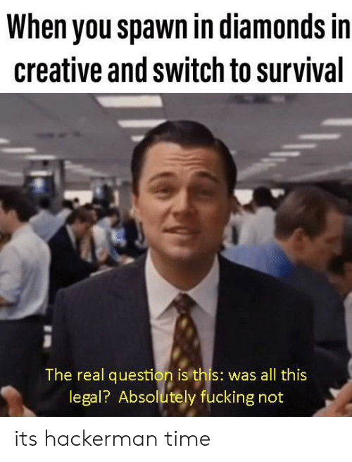 Fucking, The Real, and Time: When you spawn in diamonds in  creative and switch to survival  The real question is this: was all this  legal? Absolutely fucking not its hackerman time