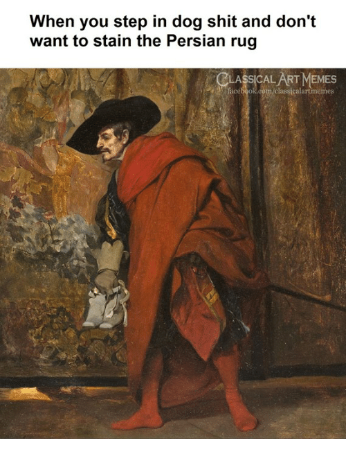 Facebook, Memes, and Shit: When you step in dog shit and don't  want to stain the Persian rug  LASSICAL ART MEMES  facebook.com/classicalartmemes