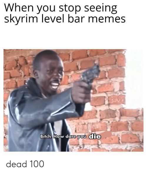 Skyrim: When you stop seeing  skyrim level bar memes  Bitch. How dare you die dead 100